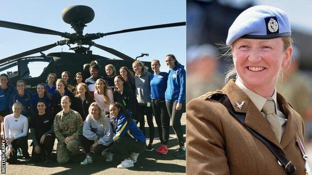 Jo Vann introduces Team Bath players to her army environment, plus Vann in her army uniform