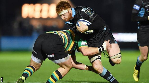 Rob Harley carries for Glasgow Warriors