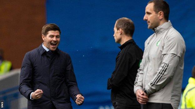 Rangers manager Steven Gerrard (left) celebrates