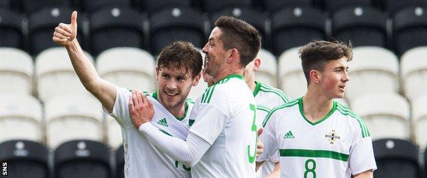 Northern Ireland's Shay McCartan celebrates the opening goal