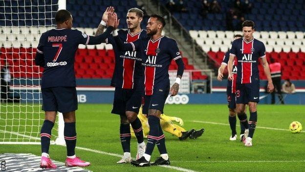 Paris St-Germain 6-1 Angers: Neymar scores twice for champions - BBC Sport