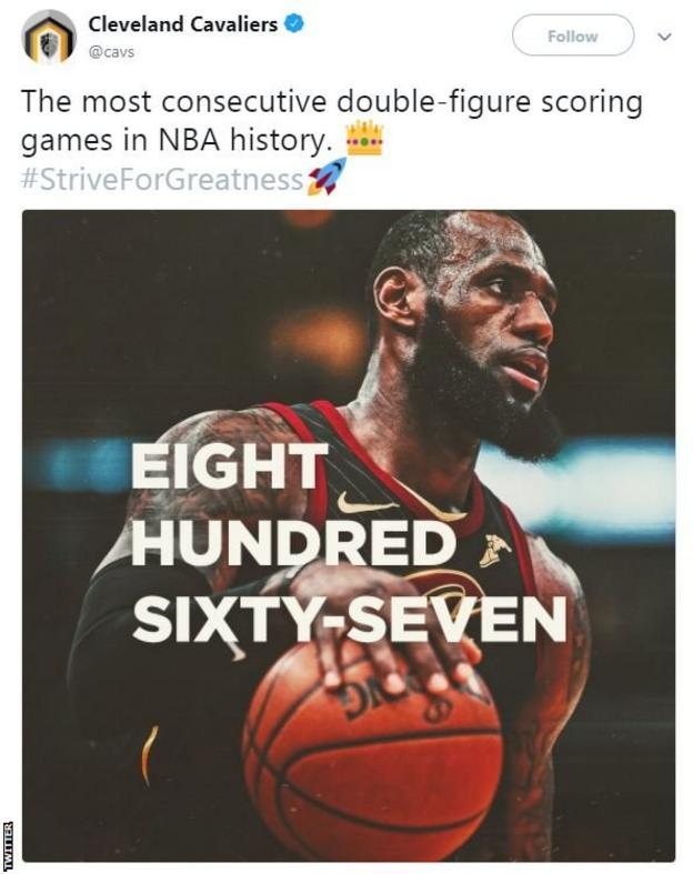 Cleveland Cavaliers tweet