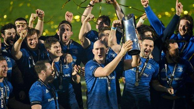 Leinster lift the 2020-2021 Pro14 league title after beating Munster in the final