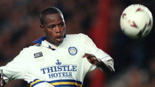 Phil Masinga in action for Leeds United during his time at the Elland Road club