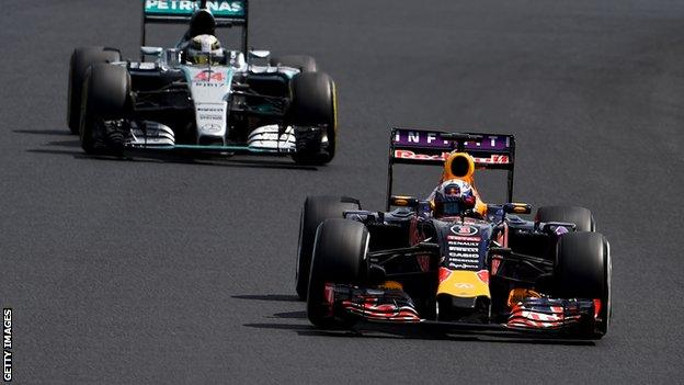 Red Bull's Daniel Ricciardo and Mercedes' Lewis Hamilton