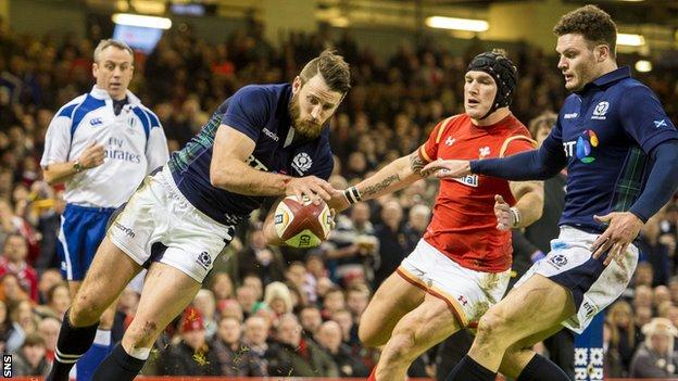 Tommy Seymour scores a try for Scotland against Wales