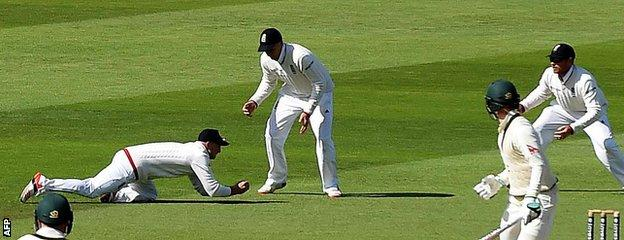 Adam Lyth catches Michael Clarke at slip