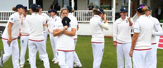 England in front of the Canterbury pavilion during the Test