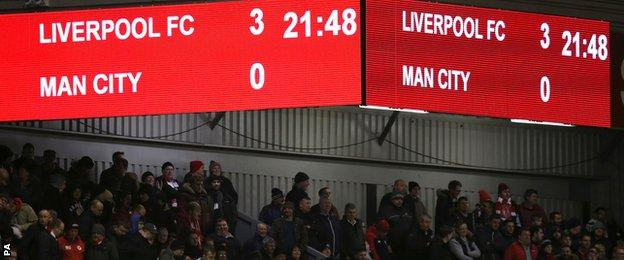 The Anfield scoreboard