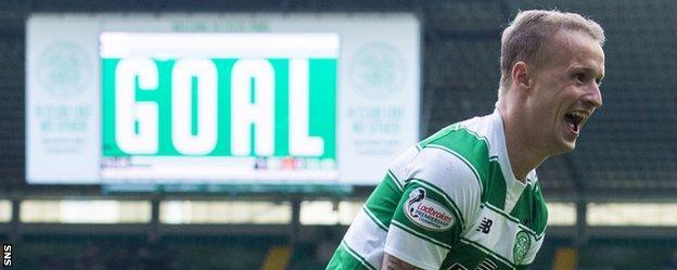 Celtic striker Leigh Griffiths celebrates a goal