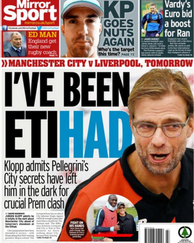 The back page of Friday's Daily Mirror focuses on Saturday's Premier League game between Manchester City and Liverpool