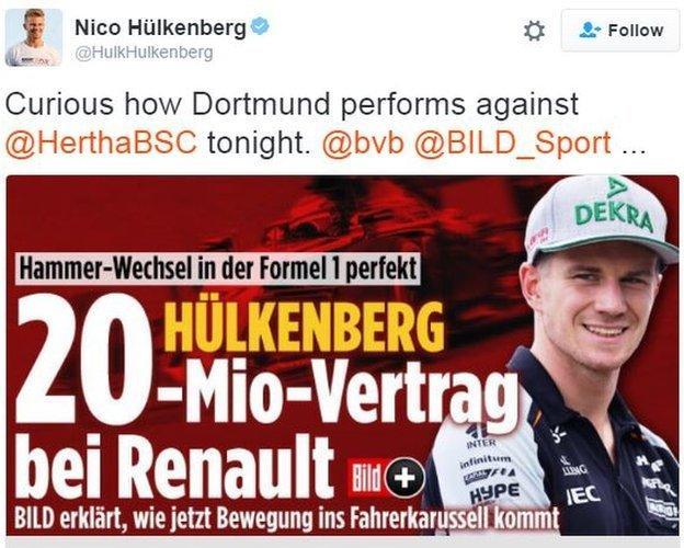Nico Hulkenberg tweet