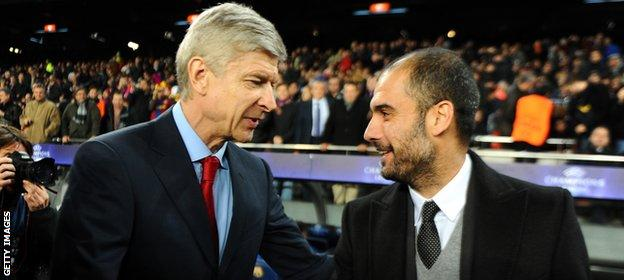 Arsene Wenger and Pep Guardiola (right)