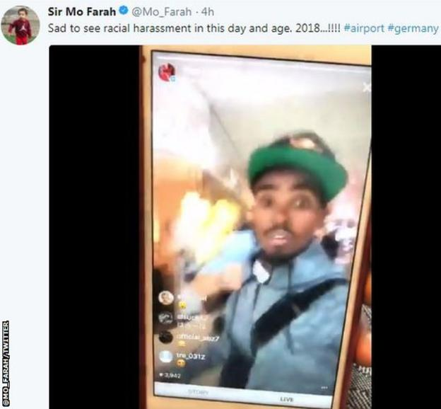 Mo Farah posted a video of the alleged incident on social media