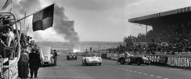 The aftermath of the 1955 Le Mans disaster