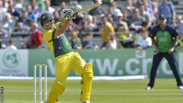 Australia batsman Joe Burns plays a stroke at Stormont