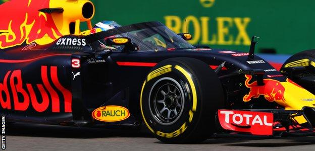Daniel Ricciardo testing Red Bull's 'aeroscreen' head protector during practice for the Russian Grand Prix