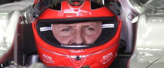 Michael Schumacher in his car in 2012