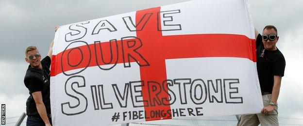 Fans with 'Save Our Silverstone' banner