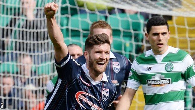Stewart Murdoch celebrates scoring for Ross County against Celtic