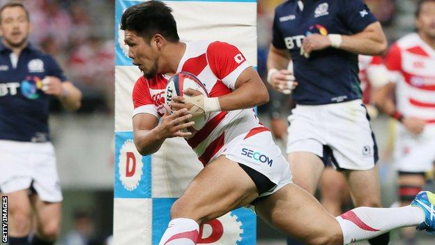 Japan captain Shota Horie scored a try in the opening match with Scotland