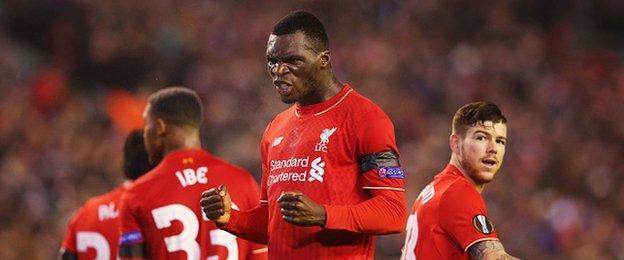 Liverpool forward Christian Benteke celebrates scoring against Bordeaux