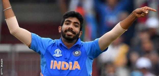 India fast bowler Jasprit Bumrah celebrates taking a wicket against New Zealand in the World Cup semi-final