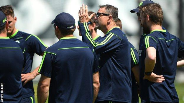 Graham Ford delivers instructions before last year's Test against England at Lord's