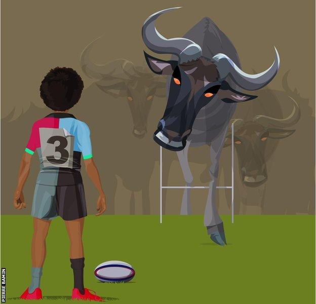 A graphic of Shaunagh in Harlequins kit with a bull coming towards her