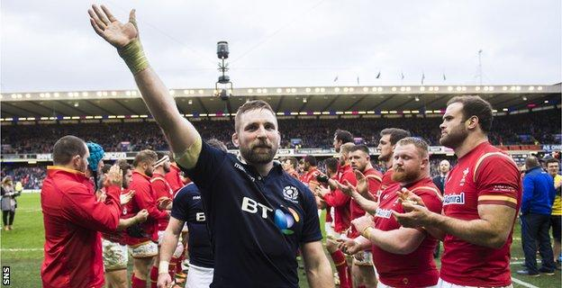 John Barclay salutes the Murrayfield crowd