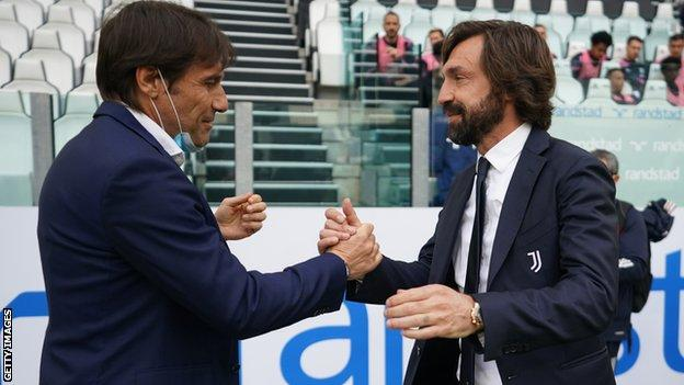 With Conte (left) gone and Andrea Pirlo's future at Juventus in doubt, Serie A could look very different next season