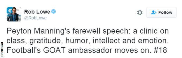Rob Lowe tweet about Peyton Manning
