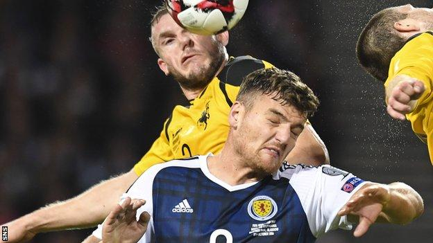 Scotland striker Chris Martin is crowded out by Lithuania's Georgas Freidgeimas (left) and Mantas Kuklys