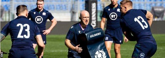 Steve Tandy during a Scotland training session