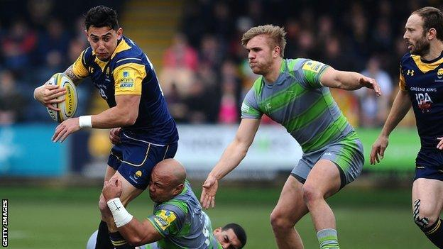 Worcester's Bryce Heem is tackled