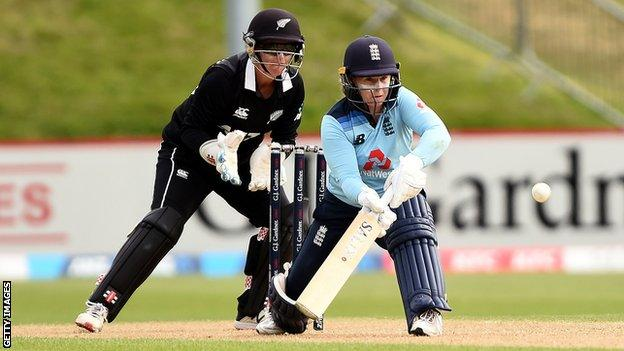 England opener Tammy Beaumont plays a shot against New Zealand in the second ODI