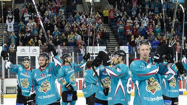 Belfast Giants players acknowledged their fans at the end of last season