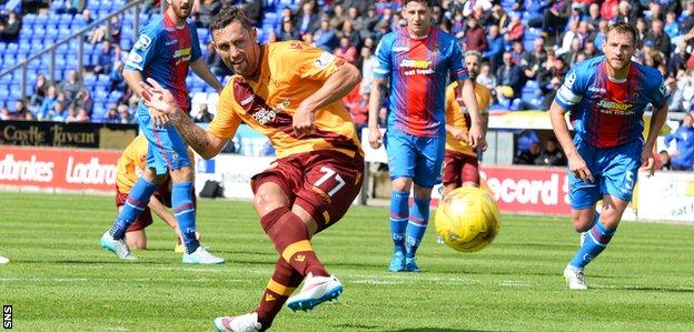 Scott McDonald fires a penalty kick that was saved