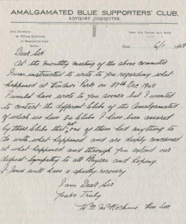 Get well soon! A letter expressing sympathy for the events at Windsor Park on 27 December, 1948