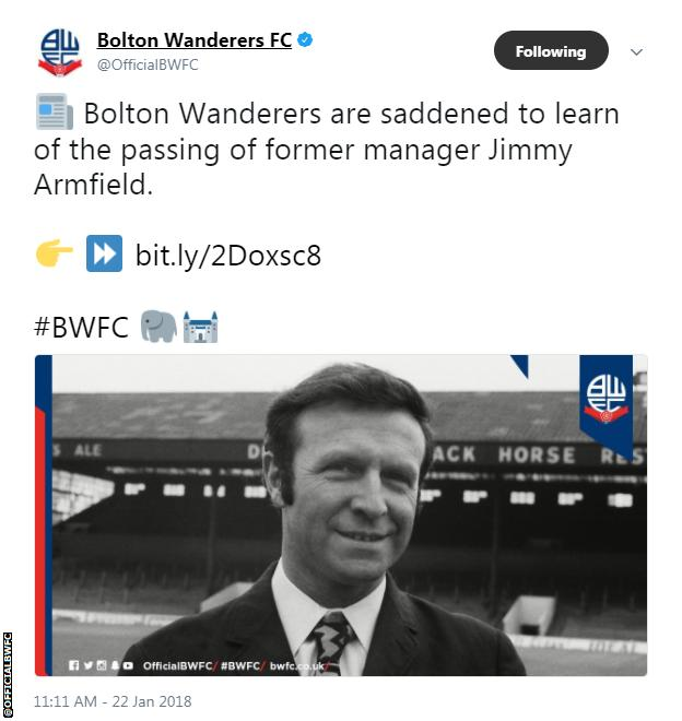 Bolton Wanderers tweet