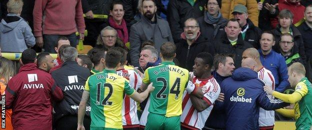 Tussles between Norwich and Sunderland