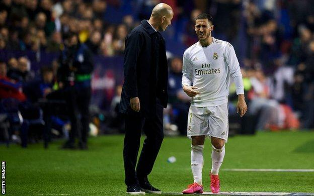 Eden Hazard limps off after suffering a fractured ankle in Real's 1-0 defeat against Levante on Saturday