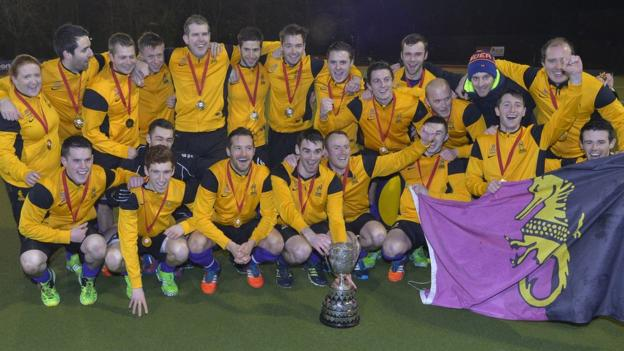 Instonians celebrate winning the Kirk Cup after their emphatic 8-2 win over Mossley in the Boxing Day final at Stormont