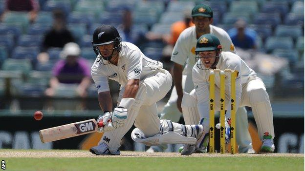 Ross Taylor sweeps during his marathon innings
