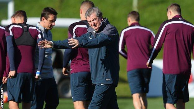 Roy Hodgson trains the England squad