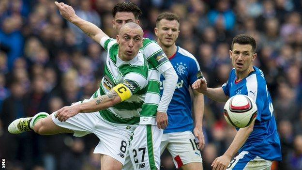 Celtic captain Scott Brown lets fly against Rangers in their recent Scottish Cup semi-final