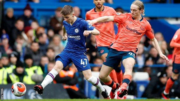 Billy Gilmour playing against Everton