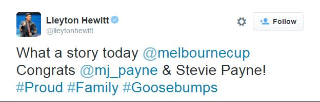 Tweet from Australian tennis player Lleyton Hewitt