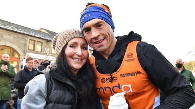 Kevin Sinfield and his wife Jane after his seventh marathon in seven days