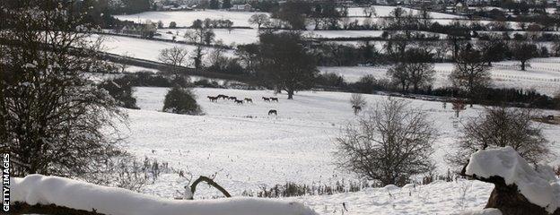 Snow covered fields north of Cheltenham